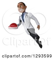 Clipart Of A 3d Young Black Male Dietician Nutritionist Doctor Flying And Holding A Beef Steak 2 Royalty Free Illustration