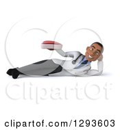 Clipart Of A 3d Young Black Male Dietician Nutritionist Doctor Resting On His Side And Holding A Beef Steak Royalty Free Illustration