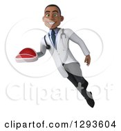 Clipart Of A 3d Young Black Male Dietician Nutritionist Doctor Flying And Holding A Beef Steak Royalty Free Illustration