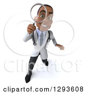 Clipart Of A 3d Young Black Male Diagnostic Doctor Searching With A Magnifying Glass Royalty Free Illustration