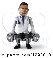 Clipart Of A 3d Young Black Male Physical Therapist Doctor Squatting With Dumbbells Royalty Free Illustration
