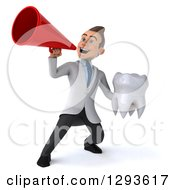 Clipart Of A 3d Young Brunette White Male Doctor Or Dentist Announcing And Holding A Tooth Royalty Free Illustration