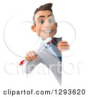 Clipart Of A 3d Young Brunette White Male Dentist Holding A Tooth Brush Around A Sign Royalty Free Illustration
