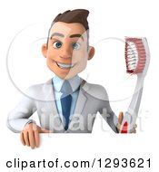 Clipart Of A 3d Young Brunette White Male Dentist Holding A Toothbrush Over A Sign Royalty Free Illustration