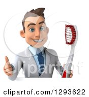 Clipart Of A 3d Young Brunette White Male Dentist Holding A Toothbrush And Thumb Up Over A Sign Royalty Free Illustration