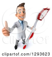Clipart Of A 3d Happy Young Brunette White Male Dentist Holding Up A Thumb And A Giant Toothbrush Royalty Free Illustration