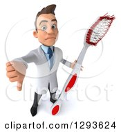 Clipart Of A 3d Unhappy Young Brunette White Male Dentist Holding Up A Thumb Down And A Giant Toothbrush Royalty Free Illustration
