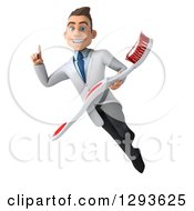 Clipart Of A 3d Young Brunette White Male Dentist Flying Holding Up A Finger And A Giant Toothbrush Royalty Free Illustration