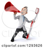 Clipart Of A 3d Young Brunette White Male Dentist Announcing With A Giant Toothbrush Royalty Free Illustration