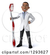 Clipart Of A 3d Young Black Male Dentist With A Giant Toothbrush Royalty Free Illustration