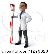 Clipart Of A 3d Young Black Male Dentist Facing Slightly Left With A Giant Toothbrush Royalty Free Illustration