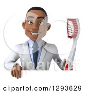 Clipart Of A 3d Young Black Male Dentist With A Giant Toothbrush Over A Sign Royalty Free Illustration