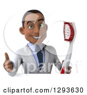 Clipart Of A 3d Happy Young Black Male Dentist Holding A Thumb Up And A Giant Toothbrush Over A Sign Royalty Free Illustration