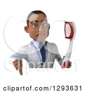 Clipart Of A 3d Unhappy Young Black Male Dentist Holding A Thumb Down And A Giant Toothbrush Over A Sign Royalty Free Illustration