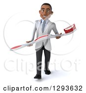 Clipart Of A 3d Young Black Male Dentist Walking With A Giant Toothbrush Royalty Free Illustration