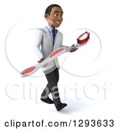 Clipart Of A 3d Young Black Male Dentist Walking Slightly Right With A Giant Toothbrush Royalty Free Illustration
