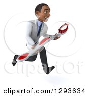 Clipart Of A 3d Young Black Male Dentist Sprinting Slightly Right With A Giant Toothbrush Royalty Free Illustration