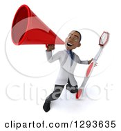 Clipart Of A 3d Young Black Male Dentist Announcing With A Megaphone And A Giant Toothbrush Royalty Free Illustration