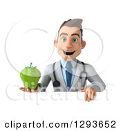 Clipart Of A 3d Young Brunette White Male Dietician Nutritionist Doctor Holding A Green Bell Pepper Over A Sign Royalty Free Illustration