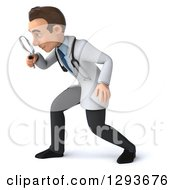 Clipart Of A 3d Young Brunette White Male Diagnostic Doctor Searching With A Magnifying Glass 2 Royalty Free Illustration