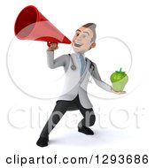 Clipart Of A 3d Young Brunette White Male Dietician Nutritionist Doctor Holding A Green Bell Pepper And Announcing Royalty Free Illustration
