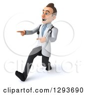 Clipart Of A 3d Encouraging Young Brunette White Male Doctor Walking To The Left And Pointing Royalty Free Illustration