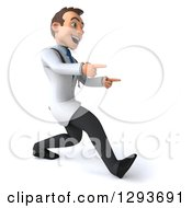 Clipart Of A 3d Encouraging Young Brunette White Male Doctor Walking To The Right And Pointing Royalty Free Illustration