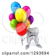 Clipart Of A 3d Unhappy Tooth Character Holding Up Party Balloons Royalty Free Illustration