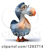 Clipart Of A 3d Bespectacled Dodo Bird Facing Slightly Right Royalty Free Illustration