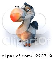 Clipart Of A 3d Bespectacled Dodo Bird Looking Up Royalty Free Illustration by Julos