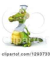 Clipart Of A 3d Sailor Crocodile Facing Slightly Left 2 Royalty Free Illustration