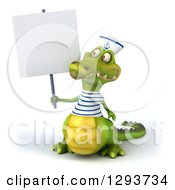 Clipart Of A 3d Sailor Crocodile Holding Up A Blank Sign Royalty Free Illustration