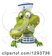 Clipart Of A 3d Sailor Crocodile Pointing Down Up Over A Sign Royalty Free Illustration