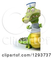 Clipart Of A 3d Full Length Sailor Crocodile Pointing Around A Sign Royalty Free Illustration