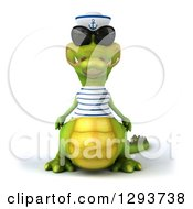 Clipart Of A 3d Sailor Crocodile Wearing Sunglasses Royalty Free Illustration