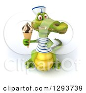 Clipart Of A 3d Sailor Crocodile Holding Up A Waffle Ice Cream Cone Royalty Free Illustration