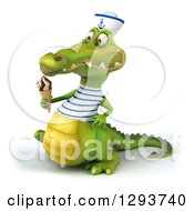 Clipart Of A 3d Sailor Crocodile Walking To The Left And Holding A Waffle Ice Cream Cone Royalty Free Illustration