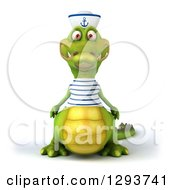 Clipart Of A 3d Sailor Crocodile Royalty Free Illustration