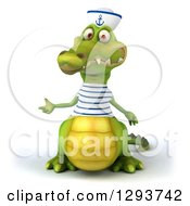 Clipart Of A 3d Sailor Crocodile Presenting Royalty Free Illustration