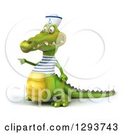 Clipart Of A 3d Sailor Crocodile Facing Slightly Left And Pointing Royalty Free Illustration