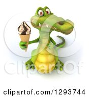 Clipart Of A 3d Crocodile Holding Up An Ice Cream Cone Royalty Free Illustration