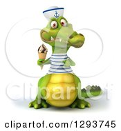 Clipart Of A 3d Sailor Crocodile Holding And Pointing To A Waffle Ice Cream Cone Royalty Free Illustration