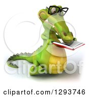 Clipart Of A 3d Bespectacled Crocodile Walking Slightly Right And Reading A Book Royalty Free Illustration