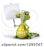 Clipart Of A 3d Crocodile Wearing Glasses And Holding Up A Blank Sign Royalty Free Illustration