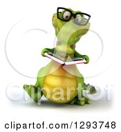 Clipart Of A 3d Bespectacled Crocodile Walking And Reading A Book Royalty Free Illustration