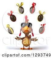 Clipart Of A 3d Brown Chicken Wearing Sunglasses And Juggling Chocolate Easter Eggs Royalty Free Illustration