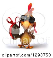 Clipart Of A 3d Brown Chicken Wearing Sunglasses And Walking With A Chocolate Easter Egg Royalty Free Illustration