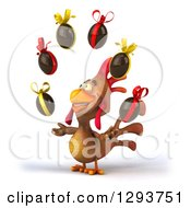Clipart Of A 3d Brown Chicken Facing Slightly Left And Juggling Chocolate Easter Eggs Royalty Free Illustration