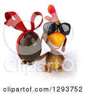 Clipart Of A 3d Brown Chicken Wearing Sunglasses And Holding Up A Chocolate Easter Egg Royalty Free Illustration