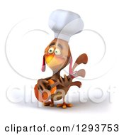 Clipart Of A 3d Brown Chef Chicken Playing A Guitar 2 Royalty Free Illustration